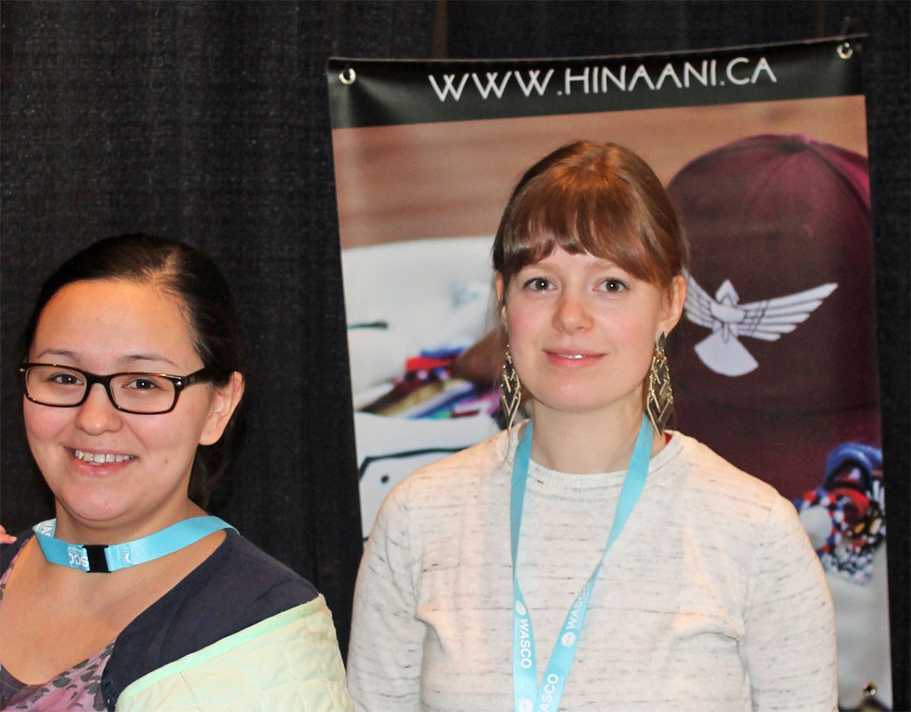 Paula Ikuutaq Rumbolt and Emma Kreuger of Hinaani Design. Hinaani designs clothing and accessories that promote Inuit culture, language, and lifestyle to foster positive self-esteem and pride in Inuit.