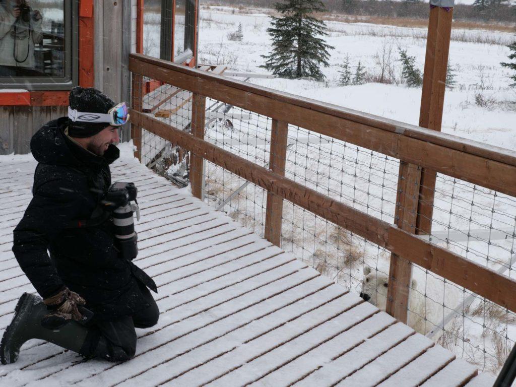 Polar bear and guest. Nanuk Polar Bear Lodge. Scott Pianalto photo.