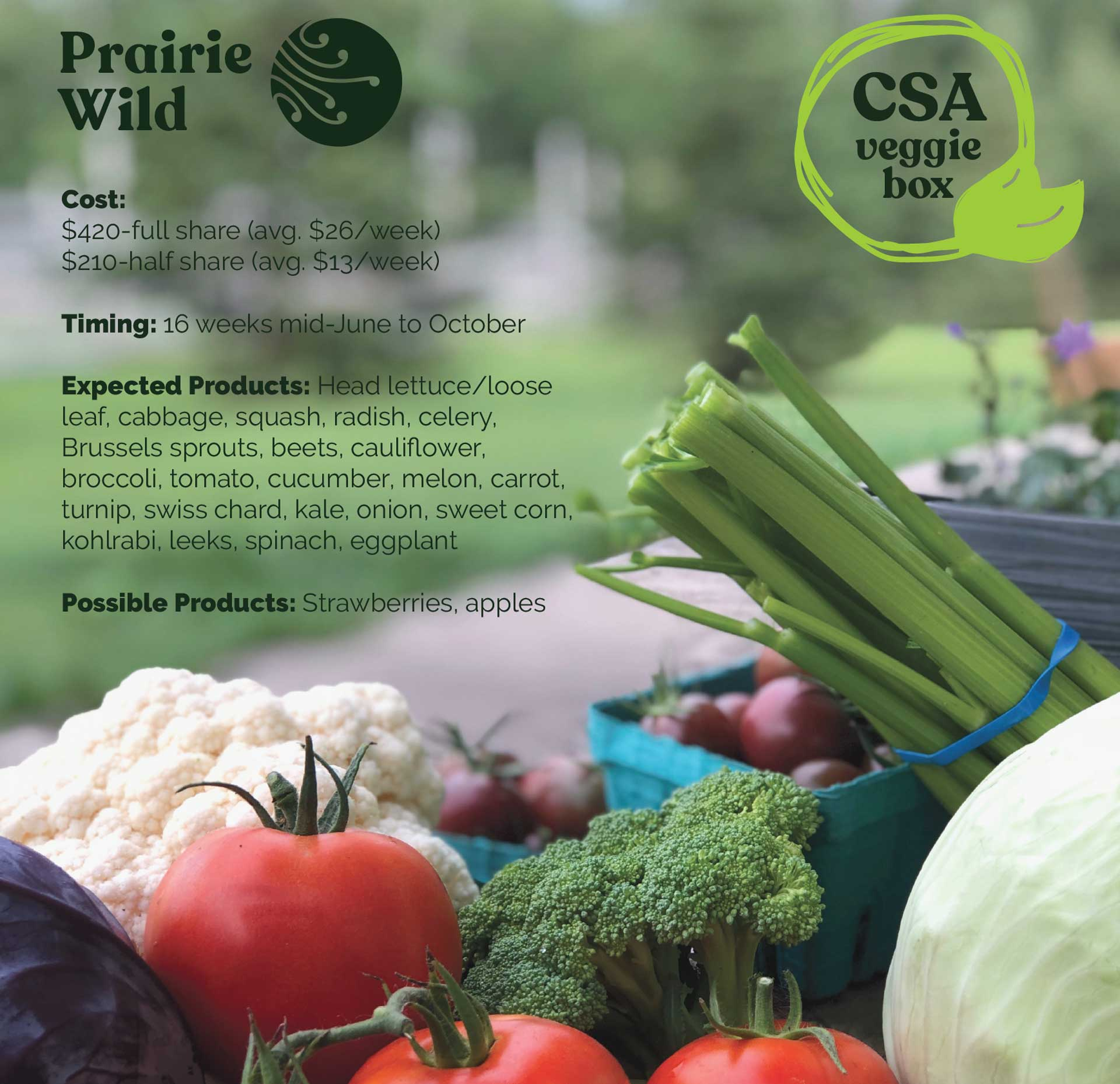 Prairie Wild Veggie Box Subscriptions Available for 2021!