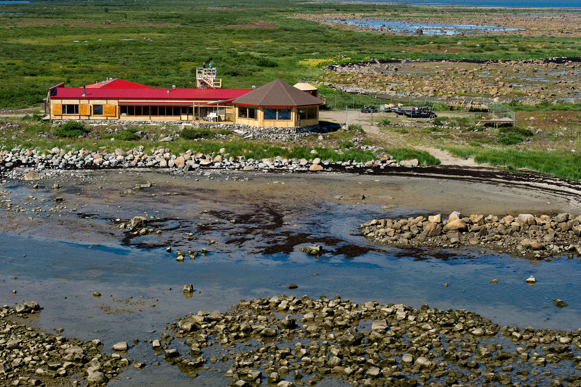 Aerial of Seal River Heritage Lodge. Summer.