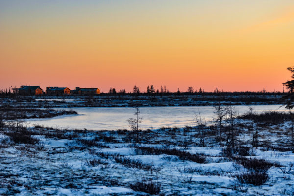 Dymond Lake Ecolodge. Sunset in winter.